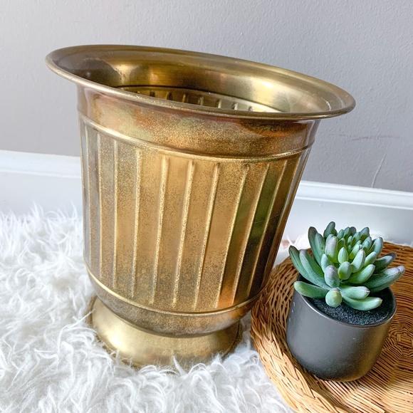"""Large 9"""" Vintage Gold Brass Planter"""